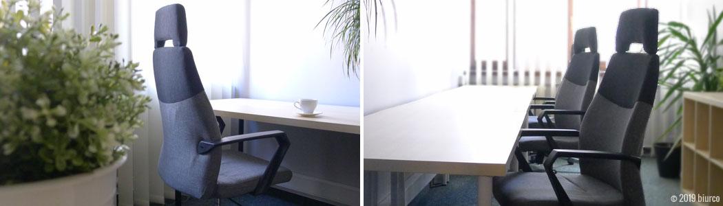 Biurco zapewnia duże biurko, regał, zamykaną na klucz szafkę i wygodny, regulowany fotel z wysokim oparciem i podłokietnikami.